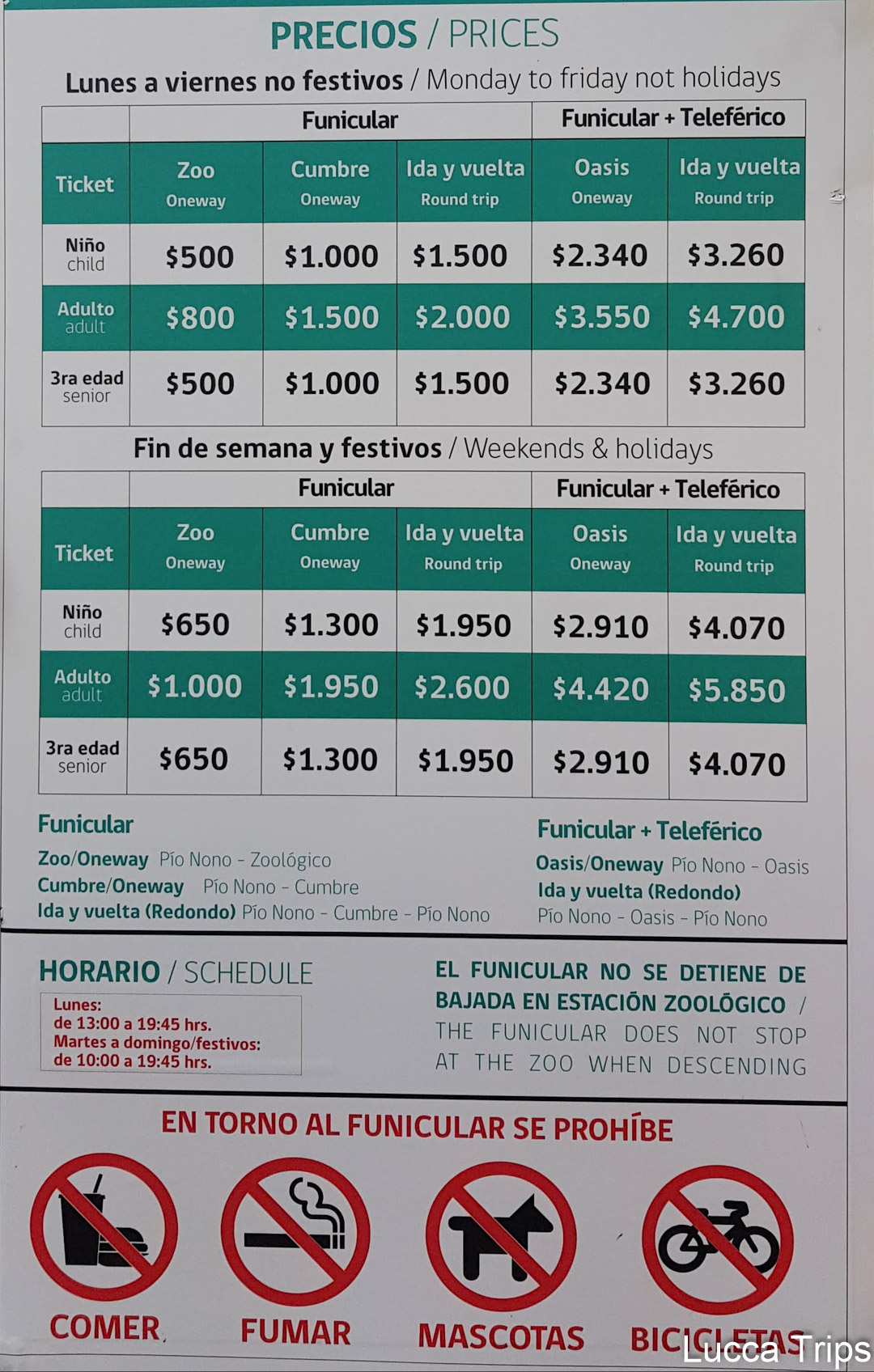 Preços teleférico e funicular San cristóbal Chile